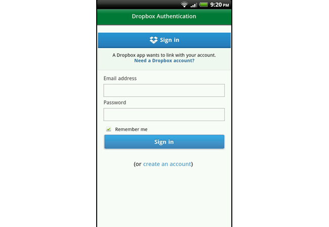 login with dropbox account