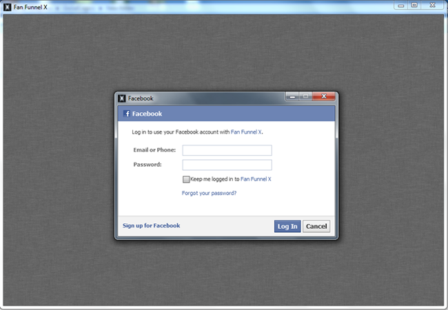 Login with facebook account
